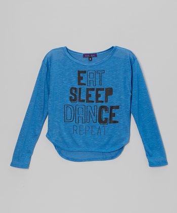 Blue 'Eat, Sleep, Dance, Repeat' Hi-Low Tee - Girls