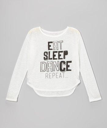 Ivory 'Eat, Sleep, Dance, Repeat' Hi-Low Tee - Girls