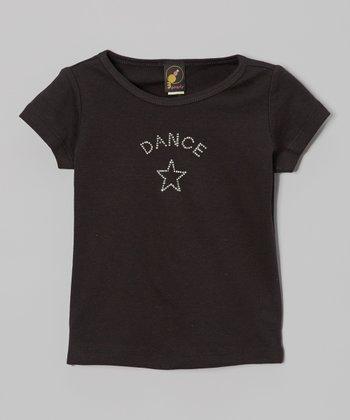 3 Pearls Kids Black Rhinestone Star 'Dance' Tee - Toddler & Girls