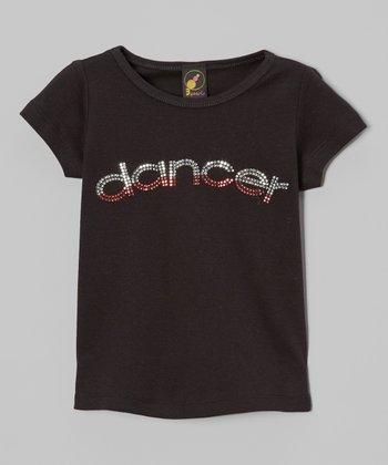 3 Pearls Kids Black & Pink Rhinestone 'Dancer' Tee - Toddler & Girls