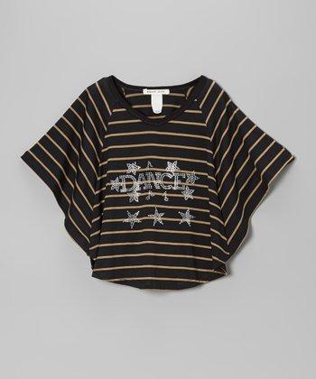 Black Stripe 'Dance' Crop Top - Girls