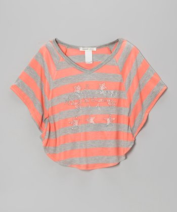 Pink & Gray Stripe 'Dance' Crop Top - Girls