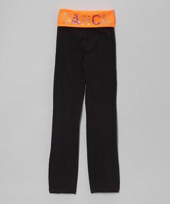 Neon Orange 'Dance' Yoga Pants - Girls