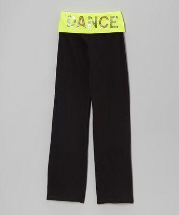 Neon Yellow 'Dance' Yoga Pants - Girls