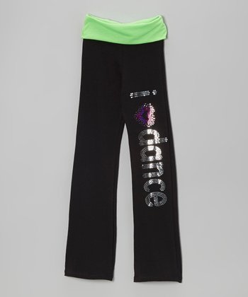 Neon Lime 'I Love Dance' Yoga Pants - Girls