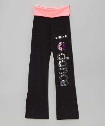 Neon Pink 'I Love Dance' Yoga Pants - Girls