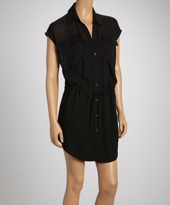 Black Pocket Button-Up Dress