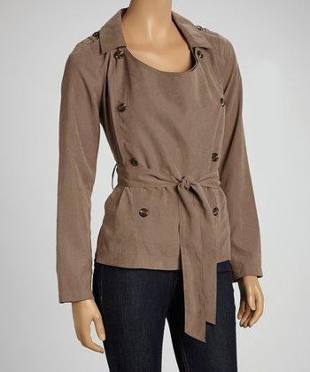 Taupe Belted Double-Breasted Jacket