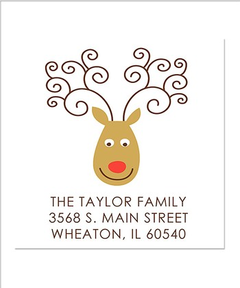 Square Reindeer Personalized Return Address Label - Set of 40