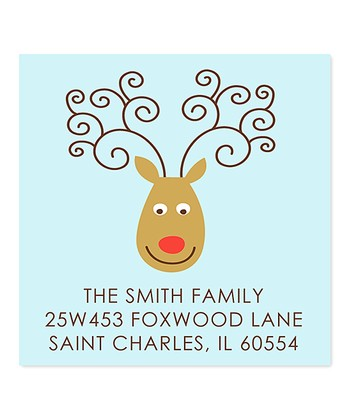Blue Reindeer Personalized Return Address Label - Set of 40