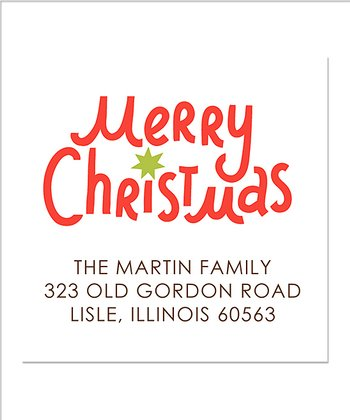 Square 'Merry' Personalized Return Address Label - Set of 40