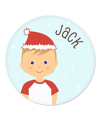 Dark Blonde Boy Christmas Plate