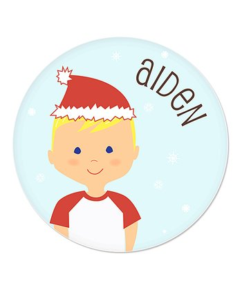 Blonde Boy Christmas Plate