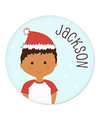 Curly Black-Haired Boy Christmas Plate