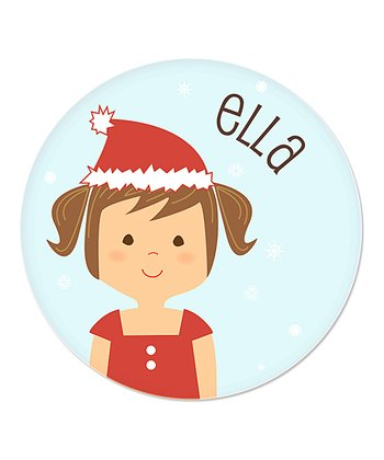 Brown-Haired Pigtails Girl Christmas Plate