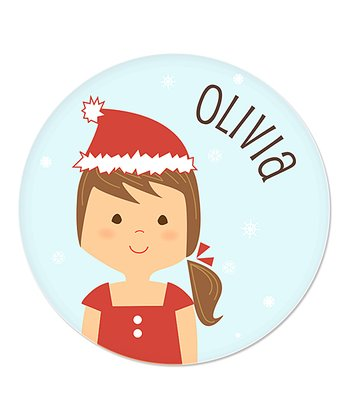 Brown-Haired Ponytail Girl Christmas Plate