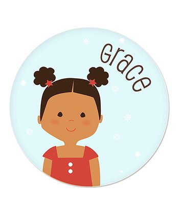 Black-Haired Pouf Pigtail Girl Christmas Plate