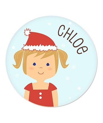 Dark Blonde Pigtails Girl Christmas Plate