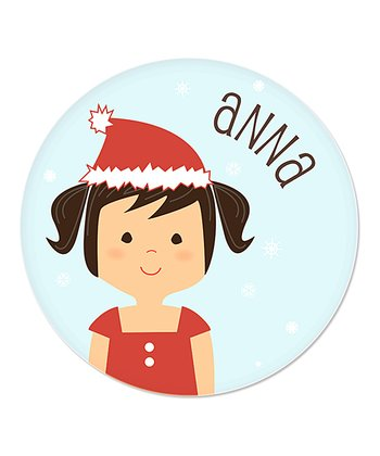 Black-Haired Pigtails Girl Christmas Plate