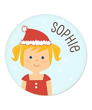 Strawberry Blonde Pigtails Girl Christmas Plate