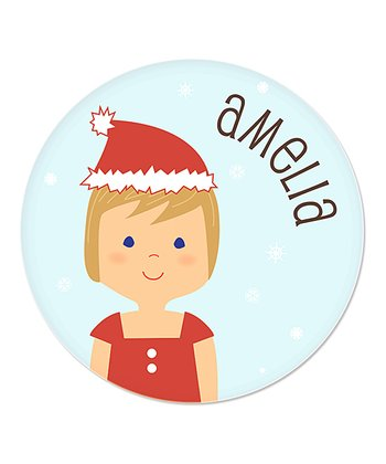 Dark Blonde-Haired Girl Christmas Plate