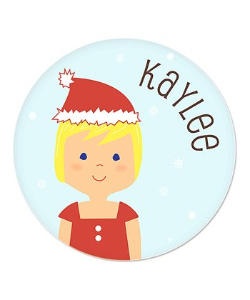 Blonde-Haired Girl Christmas Plate