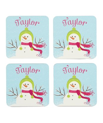 Snowman Personalized Coaster - Set of Four
