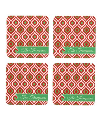 Red & Green Personalized Coaster - Set of Four
