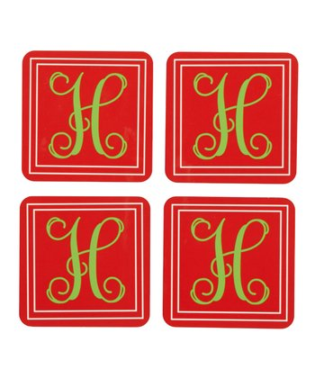 Simple Christmas Initial Coaster - Set of Four