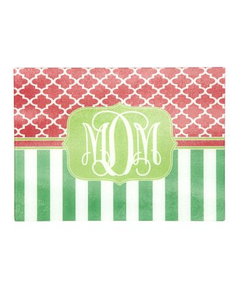 Red & Green Stripe Monogram Cutting Board