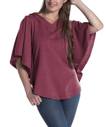 lur® Pomegranate Dahlia Cape-Sleeve Top - Women