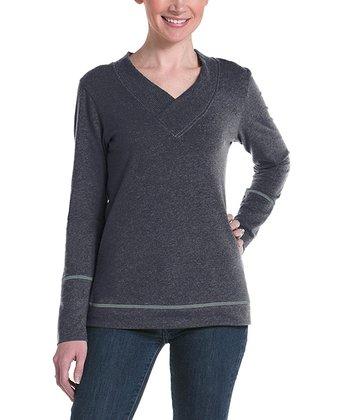 lur® Charcoal Honeysuckle V-Neck Sweater - Women