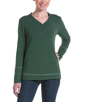lur® Moss Honeysuckle V-Neck Sweater - Women
