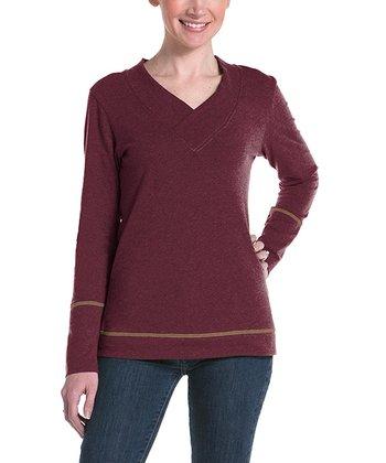 lur® Merlot Honeysuckle V-Neck Sweater - Women