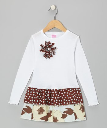 White & Brown Floral Ruffle Long-Sleeve Dress - Toddler & Girls