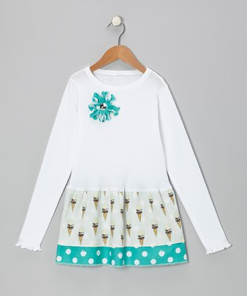 White & Aqua Ice Cream Ruffle Long-Sleeve Dress - Toddler & Girls