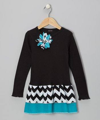 Black & Aqua Zigzag Ruffle Long-Sleeve Dress - Girls