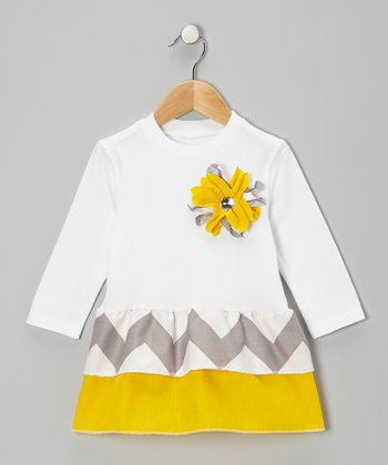 White & Mustard Zigzag Ruffle Dress - Toddler & Girls