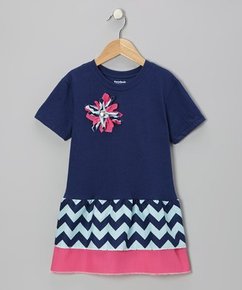 Navy & Pink Zigzag Ruffle Dress - Toddler & Girls