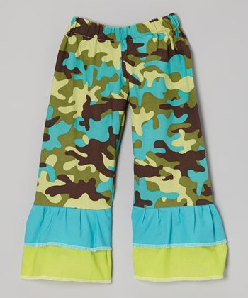 Yellow & Turquoise Camo Ruffle Pants - Infant, Toddler & Girls