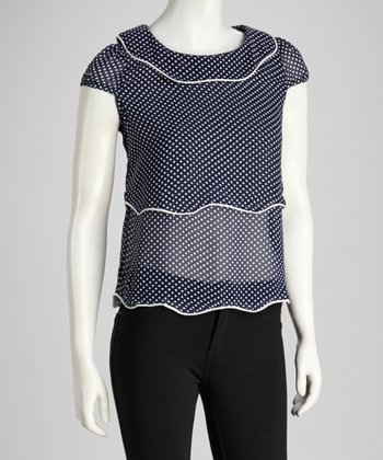 Navy & White Polka Dot Cap Sleeve Top