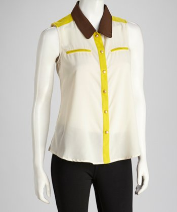 White & Chartreuse Color Block Sleeveless Top