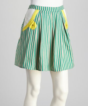 Cream & Green Stripe Skirt