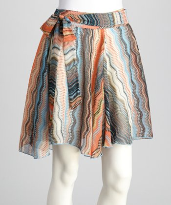 Orange & White Abstract Ruffle Skirt