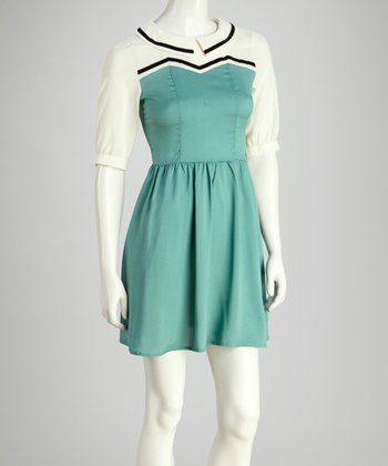 Mint & White Color Block Dress