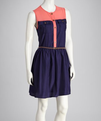 Navy & Pink Color Block Belted Sleeveless Dress