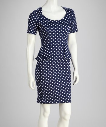 Navy & White Polka Dot Short-Sleeve Dress