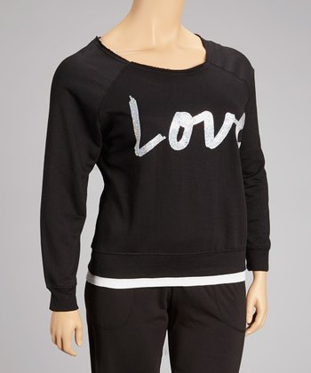 Black Sequin 'Love' Top - Plus
