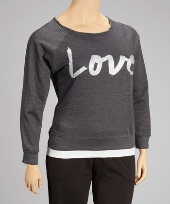 Charcoal Sequin 'Love' Top - Plus