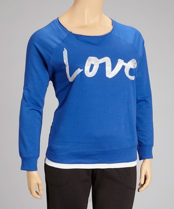 Deep Royal Sequin 'Love' Top - Plus